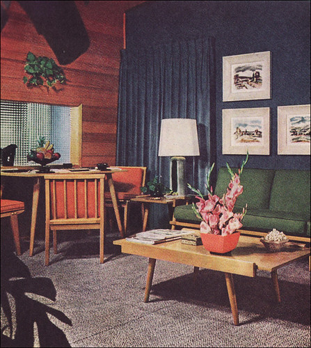 1950s Living Room With Camouflage Draperies Flickr