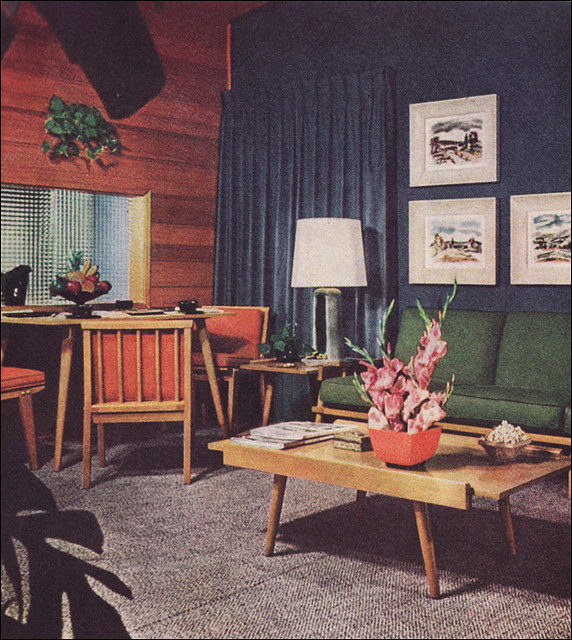 1950s Living Room With Camouflage Draperies This Was