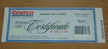 Costco Executive Membership Reward Gift Check
