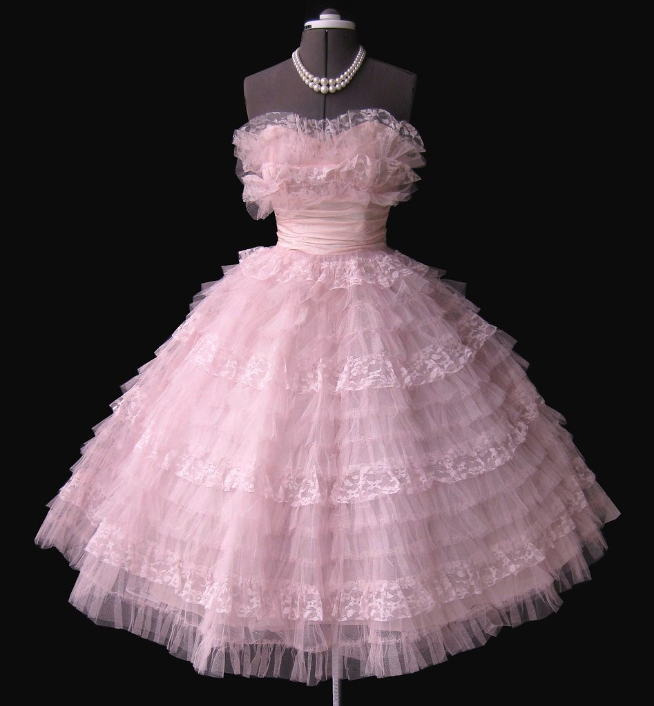 frothy pink 1950s prom dress myvintagestudio flickr