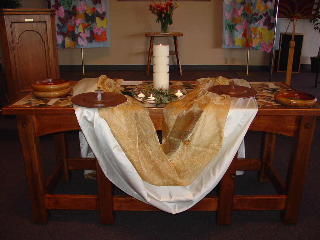 New communion table robin flickr for Altar decoration for first holy communion