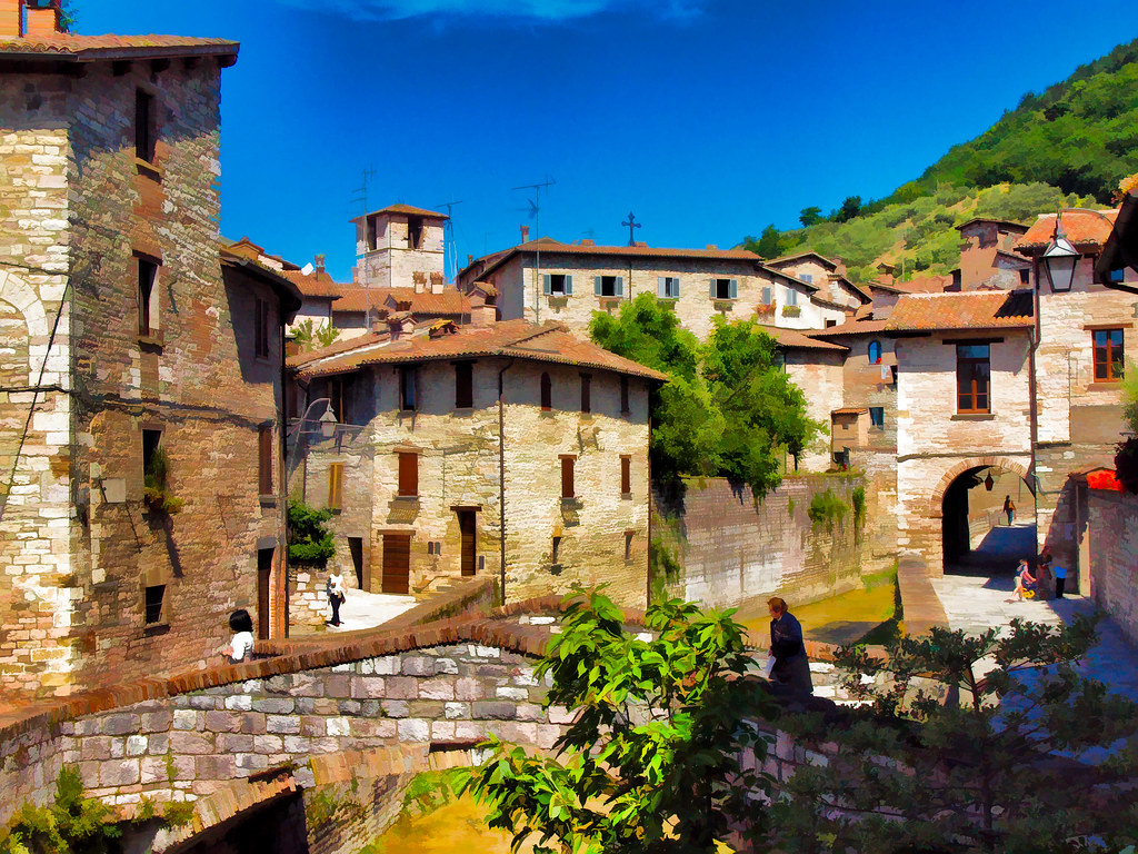 Francois Illas New Tradition: Old Houses By The River In The Medieval Walled Town Of Gub