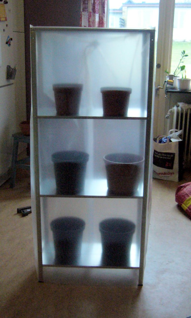 Greenhouse ikea hack cheap shelf from ikea with a clear for Inexpensive greenhouse shelving wood