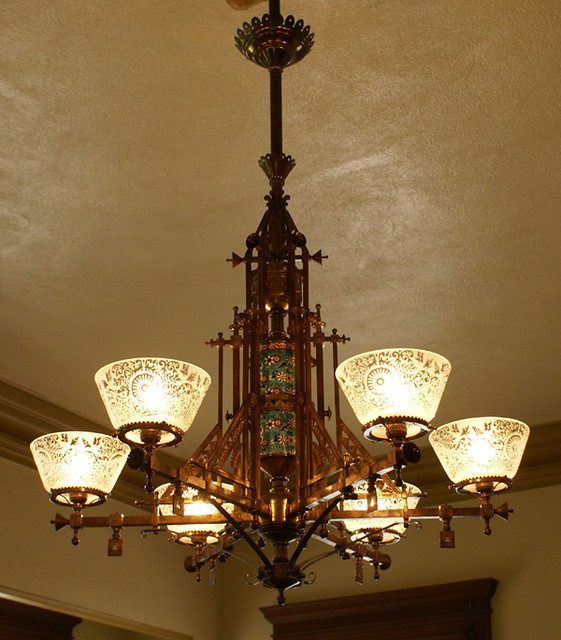 Hanging Gas Light Fixture: Bradley & Hubbard Gas Chandelier
