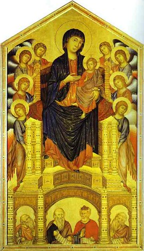 cimabue madonna enthroned Madonna enthroned factual information: from: florence, italy period: 1310  general information: this painting of mary holding christ was done by giotto,.