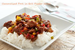 caramelised pork in bell pepper sauce | by pigpigscorner