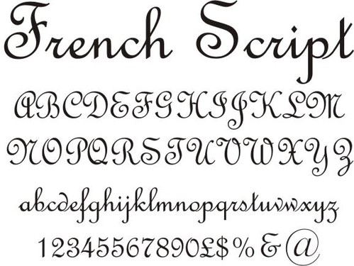 french script | French Script available as stick on letters ...