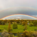 Double arch rainbow panorma.