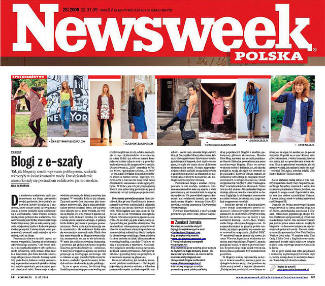 Polish style bloggers in Newsweek (July 12, 2009)