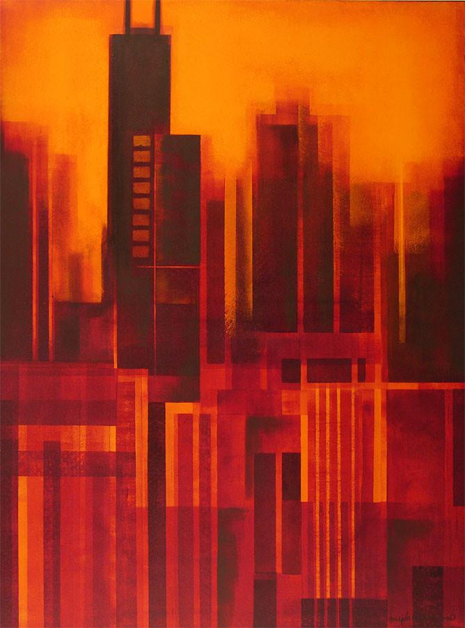 Quot Chicago Golden Sunset Skyline Quot Original Chicago Skyline