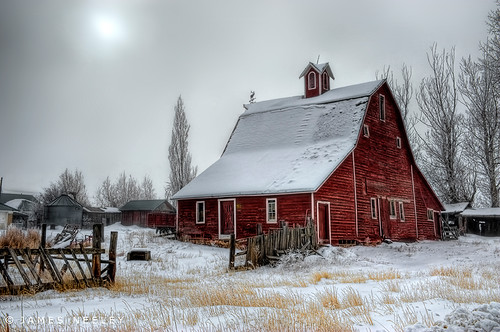 Red Barn on a Foggy Morning - HDR | by James Neeley