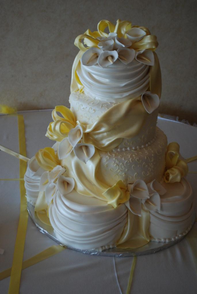 Draped Yellow Wedding Cake This Creation In Pale Yellow