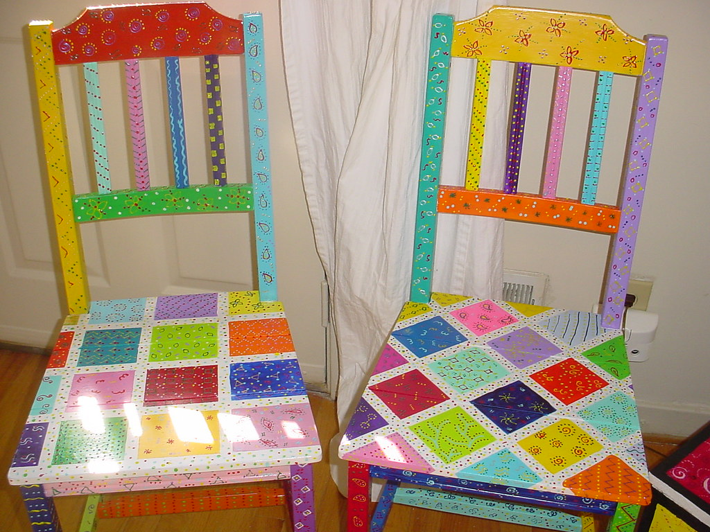 Hand painted fairytale chairs fun furniture1 flickr for Hand painted furniture