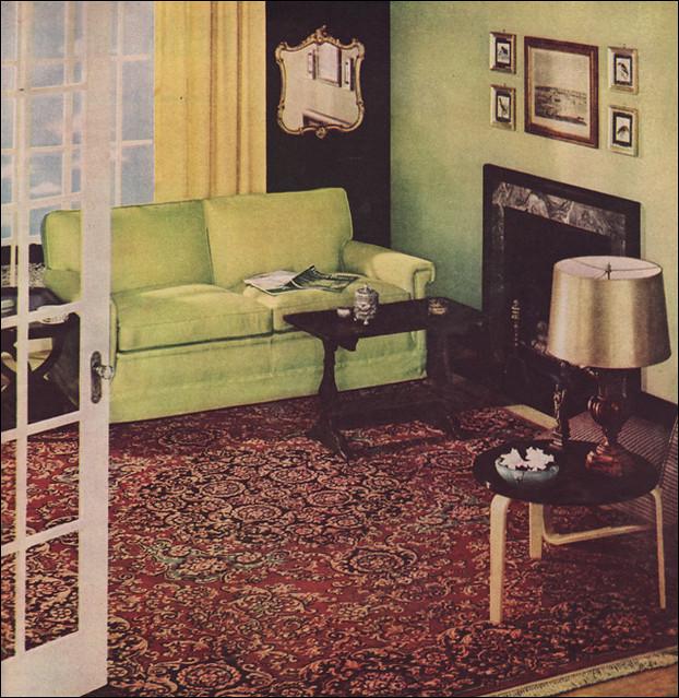 1949 chartreuse black living room i 39 m a sucker for for Living room 1940