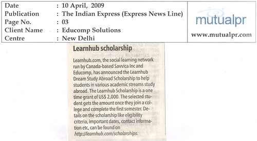 LearnHub Scholarship, The Indian Express, April 10th, 2009 | by Edna Hubfellow