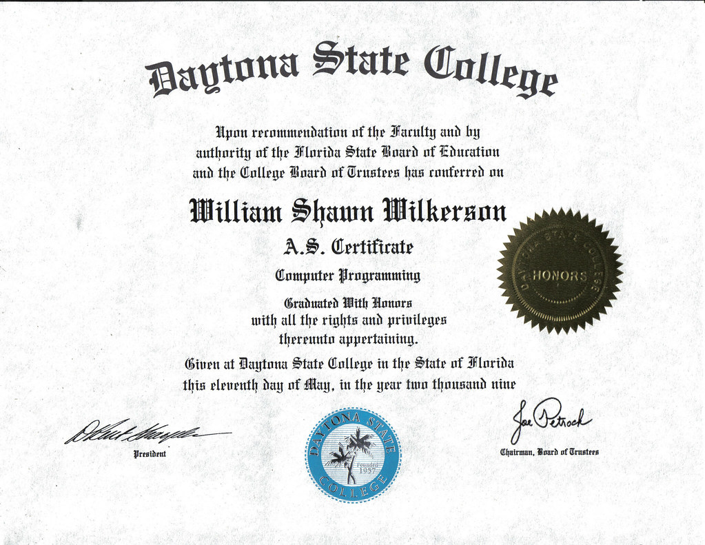 Certificate Computer Programming One Year Degree W Shawn