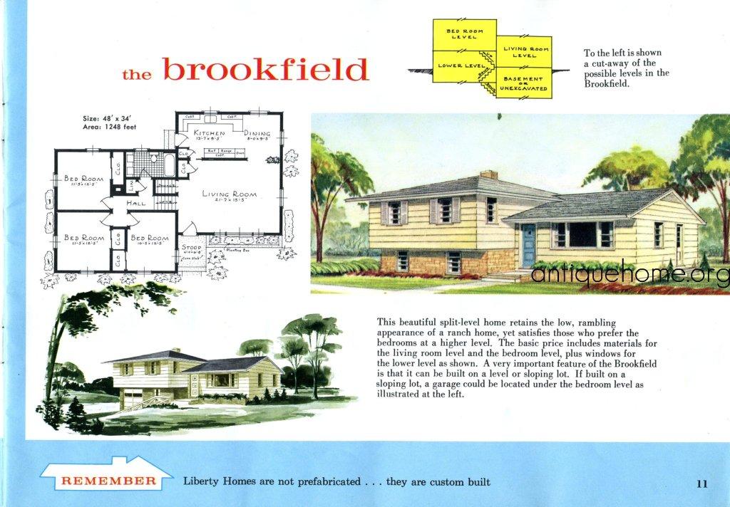 The split level house plan the brookfield liberty kit for Split level house plans 1960s