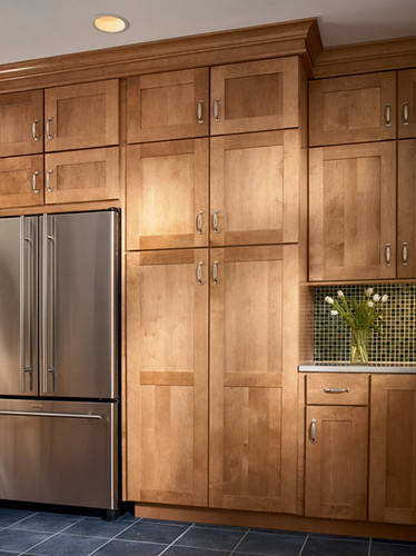 Kitchen With Built In Pantry And Refrigerator Kitchen