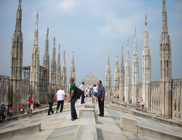 Milan Duomo Roof Up On The Roof Of The Duomo On The Main
