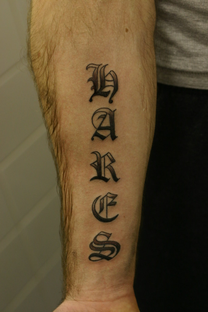 old english lettering shaded tattoo forearm tattooed by j flickr. Black Bedroom Furniture Sets. Home Design Ideas