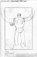 sketch for bento #48: Inari-zushi Laputa robot