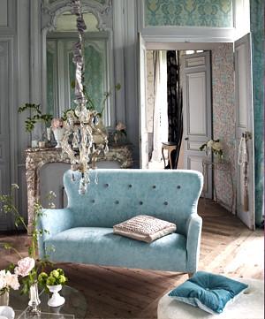 Modern Fabric Romantic French Living Room Duck Egg Velv