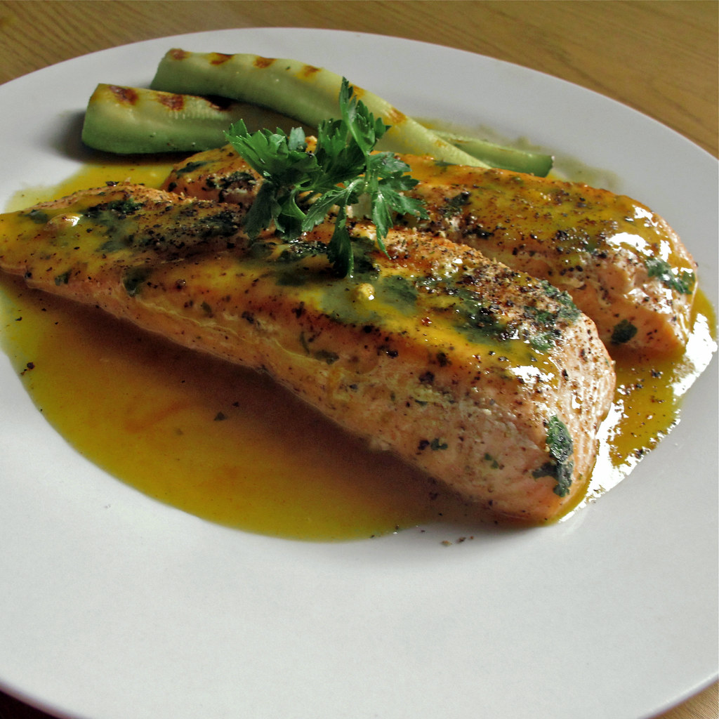 Grilled salmon with citrus sauce khairil zhafri flickr for Grilled white fish recipes
