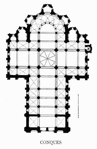 Arte rom nico arquitectura plantas santa fe de conques for Plantas de arquitectura