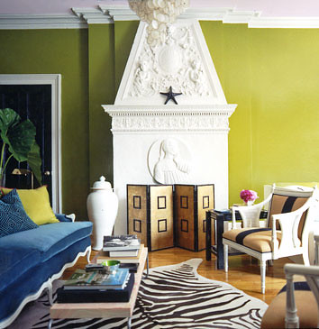 Bright Modern Living Room Acid Green White Brown B