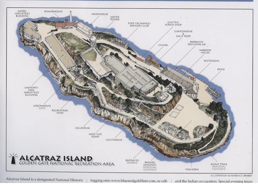 Alcatraz Nd Map 08 This Is A Color Drawing By Ormsby