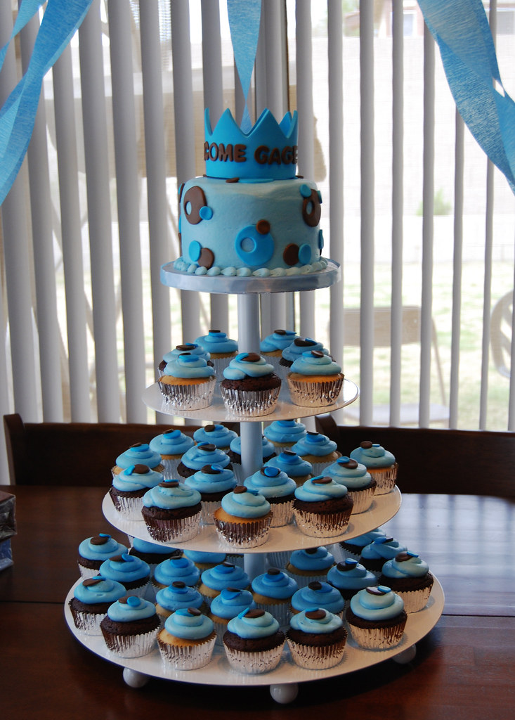 Blue And Brown Prince Baby Shower Cupcake Tower Read