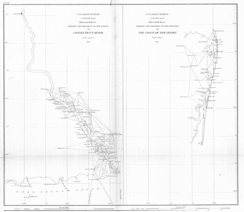 Sketch B no. 3, showing the progress of the survey of Connecticut River; Sketch B no. 4, showing the progress of the resurvey of the coast of New Jersey. | by uconnlibrariesmagic