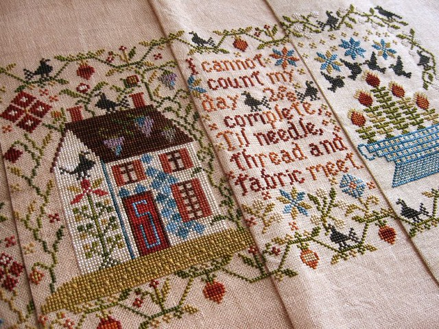 Loose feathers mystery sampler blackbird designs flickr for Blackbird designs tending the garden