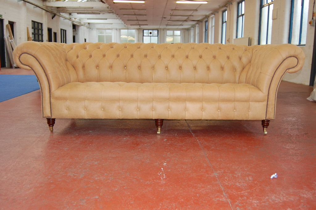 tan leather chesterfield sofa front on view of tan beige l flickr. Black Bedroom Furniture Sets. Home Design Ideas