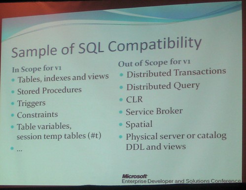 SQL Server Data Services Compatibility | by Denis Gobo