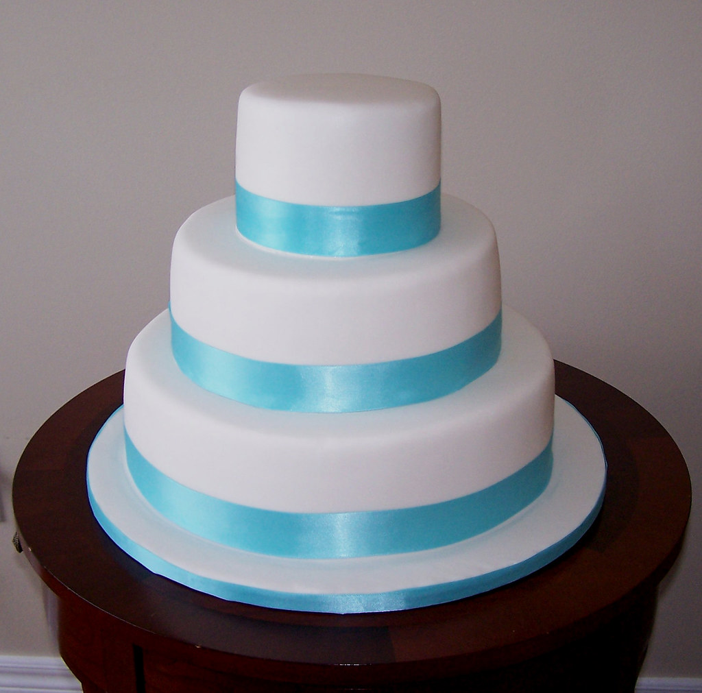 Cake With Fondant Ribbon : Tiffany blue ribbon wedding cake Cake covered in fondant ...