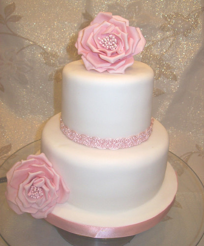 White Cake With Pale Pink Icing