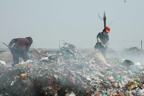 Two workers on smoking, burning, stinking garbage pile, Huaibei, Anhui, China _0442 | by Philip McMaster PeacePlusOne_\!/