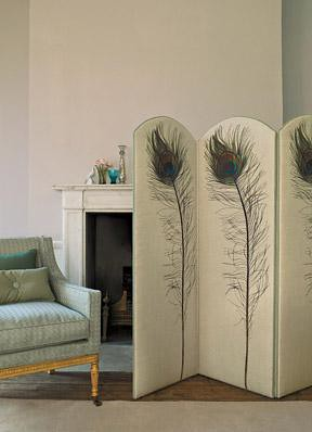 Modern fabric: Bold peacock feather screen + blue duck egg upholstery | by SarahKaron