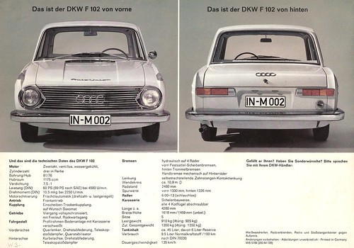 Dkw F 102 Last Dkw Model Before It Became Audi With