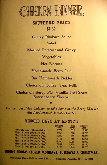 Vintage Knott s Berry Farm Chicken Dinner Menu 1947