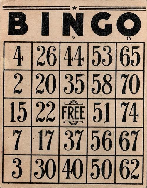 Fabulous Vintage Bingo Card   I love the free space on ...