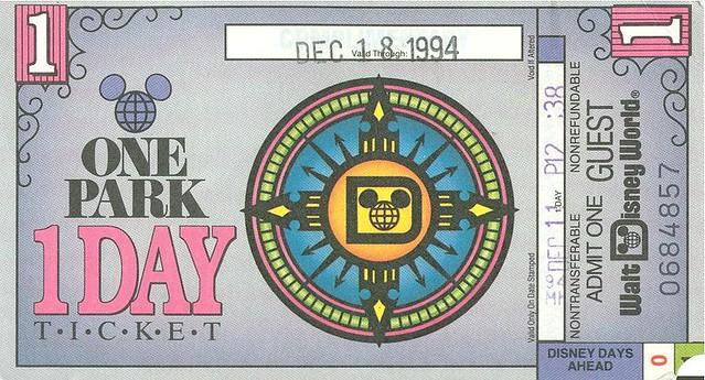 Old Walt Disney World Paper Ticket