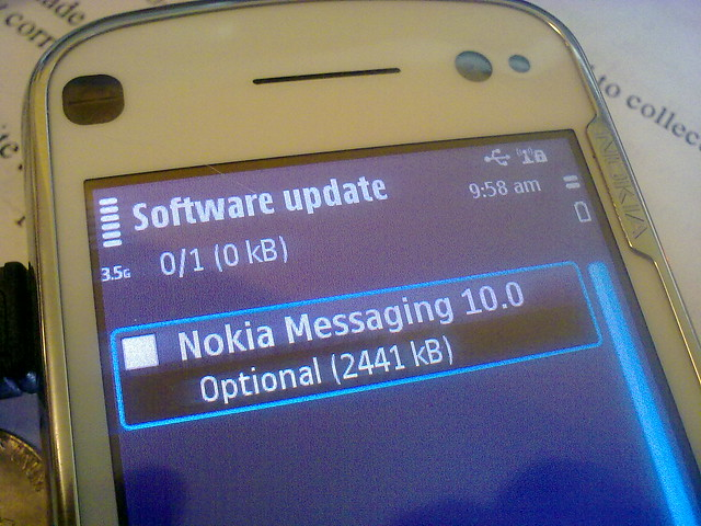 nokia messaging now shows up on sw update. Check your n97