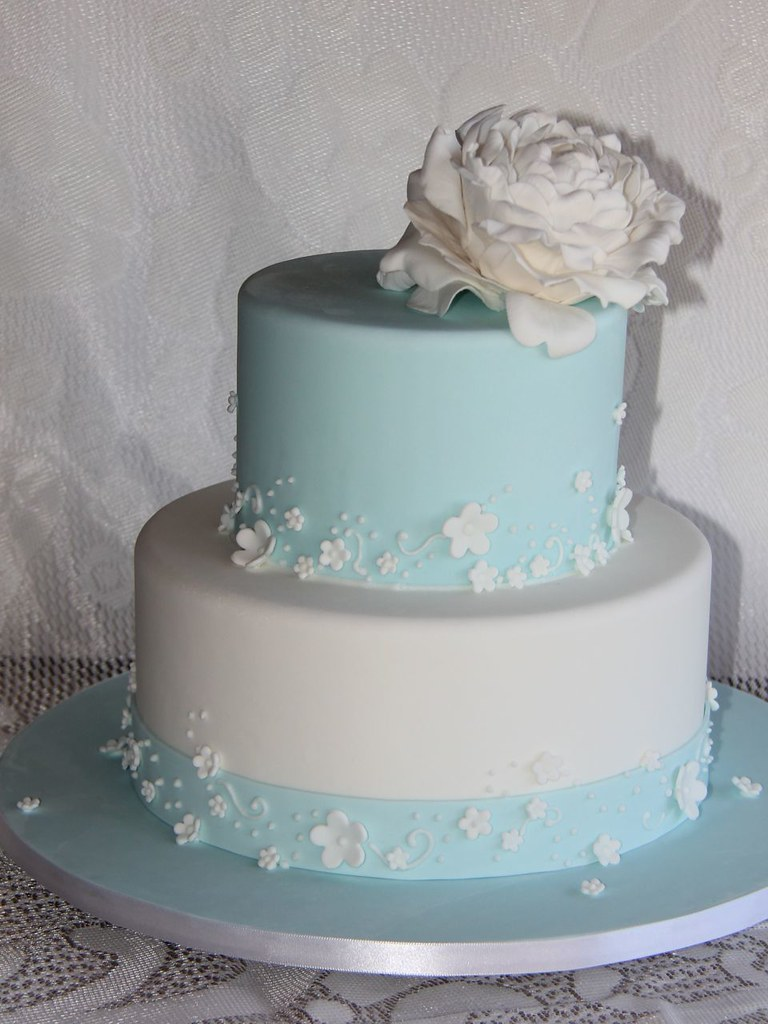 Tiffany Blue Wedding Cake Cake With White Blossom And