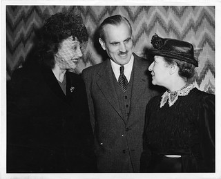 Lise Meitner (1878-1968), standing at meeting with Arthur H. Compton and Katherine Cornell | by Smithsonian Institution