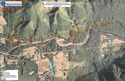 Landslide Maps Washington Landslide Map Tilton River