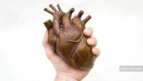 Bronze heart sculpture scultpre with ferric