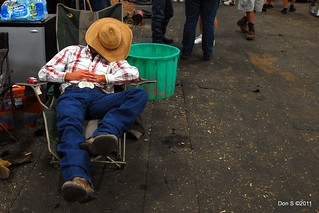 Kentucky state fair, cowboy taking a nap