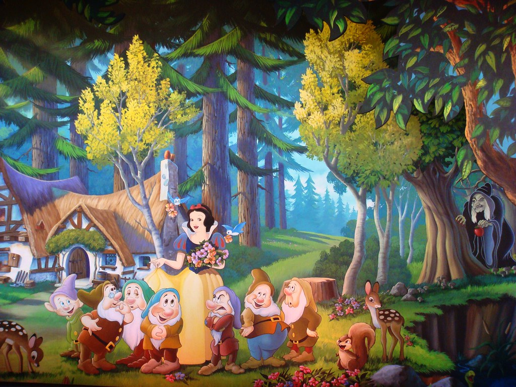 Wall mural of snow white 39 s scary adventures snow white 39 s for Disney world mural